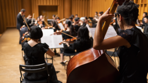 music students playing string instruments during a performance led by a conductor